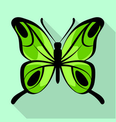 lemon green butterfly icon flat style vector image