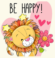 lion with hearts and a flower vector image