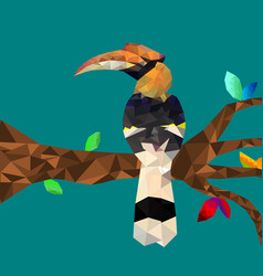 low poly colorful hornbill bird with tree on blue vector image