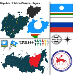 Map of Republic of Sakha vector