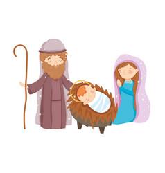 Mary joseph and bamanger nativity merry vector