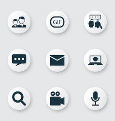 Media icons set collection of video chat message vector
