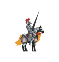 Medieval knight riding horse holding striped lance vector