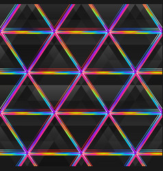 neon bright triangle seamless pattern vector image