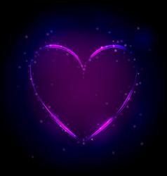 neon purple heart on dark background vector image