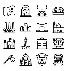 Pakistani culture icons in line style pack vector