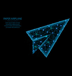 paper airplane low poly model flight up in vector image