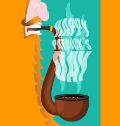 patricks day leprechaun smokes pipe smoking set vector image