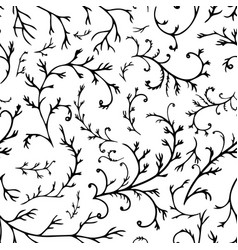 Plant with branches and foliage seamless pattern vector
