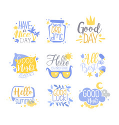 positive quotes set hand wriiten lettering vector image