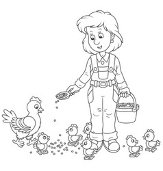 Poultry woman feeding chickens vector
