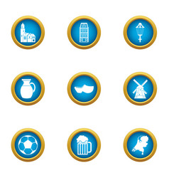Province icons set flat style vector