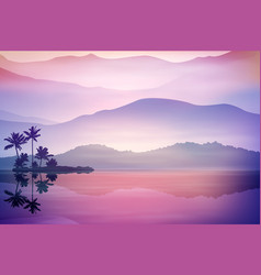 purple background with sea and palm trees vector image