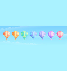 rainbow color hot air balloon travel adventure set vector image