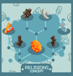 Religions color isometric concept icons vector