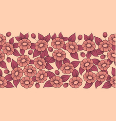 seamless coral full floral brush vector image