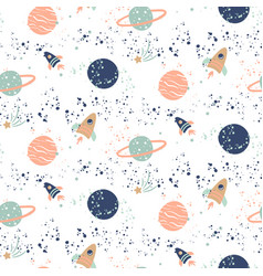 seamless pattern with planets and vector image