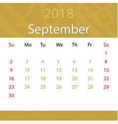 september 2018 calendar popular premium for vector image