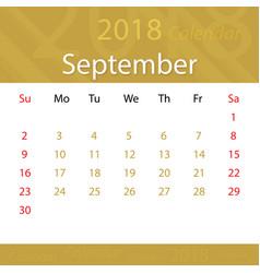 September 2018 calendar popular premium vector