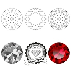 Set classic round cut jewel views vector