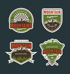 set mountain travel outdoor adventure camping vector image