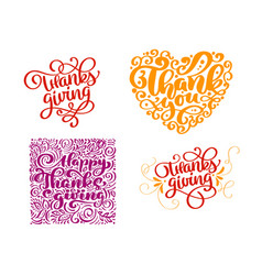 set of calligraphy text thank you for happy vector image
