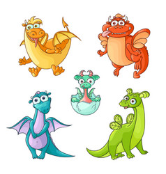 Set of funny cartoon hand drawn dragon characters vector