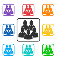 Set of group square icons with 5 peoples vector