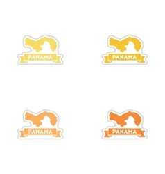 Set of paper stickers on white background Panama vector