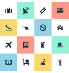 Set of simple travel icons vector