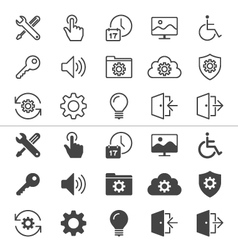 Setting icons thin vector