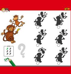 Shadow activity game with cartoon monkeys vector