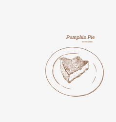Slice of pumpkin pie on the vector
