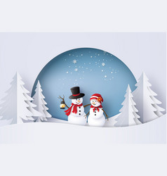 Snow man in the village vector