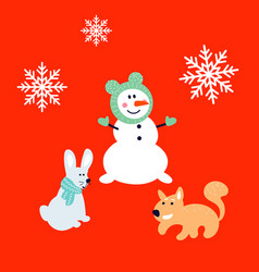 snowman bunny and squirrel cartoon card new year vector image