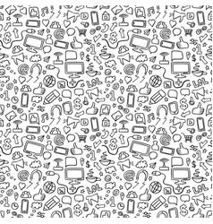 Social media doodle seamless pattern vector