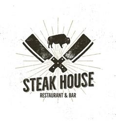 Steak House vintage Label Typography letterpress vector image