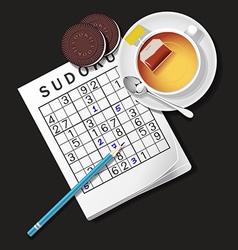 Sudoku game mug of tea and cookie vector