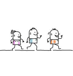 Three running cartoon people vector
