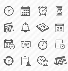 Time and Schedule stroke symbol icons set vector image