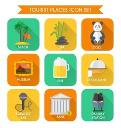 Tourist Places Icons Set vector image