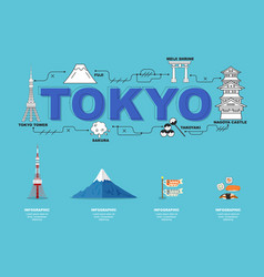Traveling in tokyo with landmark icons on sky vector