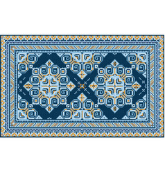 Vintage carpet with blue shades and yellow vector