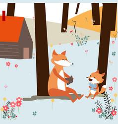 Vintage cute spring summer baby fox and dad vector