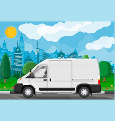 white delivery at cityscape background vector image