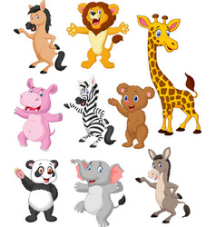 wild animals cartoon collection set vector image