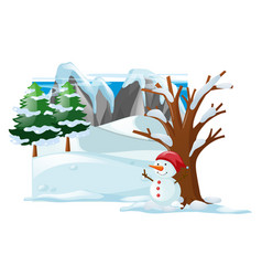 Winter scene with snowman on snow vector