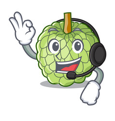 With headphone ripe sugar apple fruit on mascot vector
