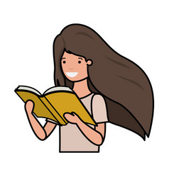 Young student girl reading book vector
