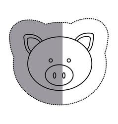 contour face pig icon vector image